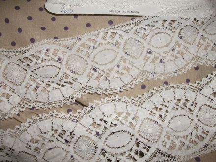 Exclusive English Nottingham Cotton Cluny Lace WHITE - Vintage Pattern FC2006